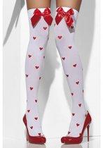 Чулки с сердечками и бантами Romantique, цвет белый/красный, S-L - Fever