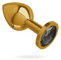 Золотистая средняя пробка с чёрным кристаллом - 8,5 см, цвет золотой/черный - МиФ