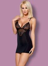 Облегающая сорочка с кружевным лифом, цвет черный, L-XL - Obsessive