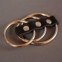 Сбруя на фаллос и мошонку из 3 колец, цвет золотой - Подиум