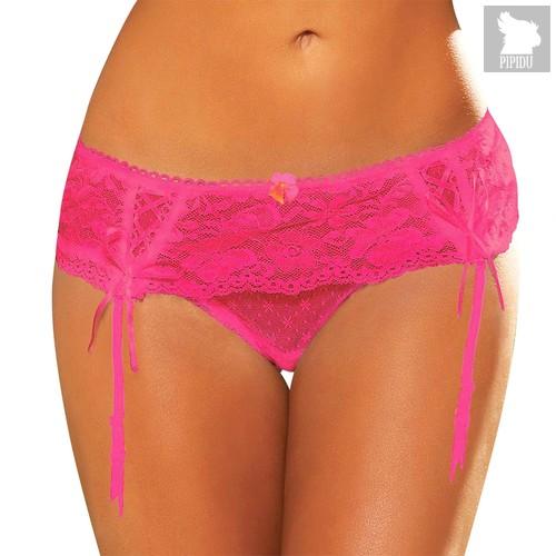 Трусики Lace Garter Thong с подвязками, цвет розовый, M-L - Hustler Lingerie