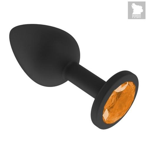 """Анальная пробка """"Джага Джага"""" 518-10, с оранжевым кристаллом - 7.3 см, цвет оранжевый - МиФ"""