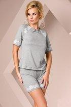 Серая пижамка с кружевом, цвет серый, размер L - Passion