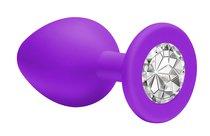 Средняя фиолетовая анальная пробка Emotions Cutie Medium с прозрачным кристаллом - 8,5 см. - Lola Toys