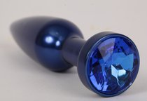 Большая синяя анальная пробка с синим стразом - 11,2 см. - 4sexdreaM