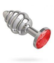 Серебристая пробка с рёбрышками и красным кристаллом - 7 см, цвет красный/серебряный - МиФ