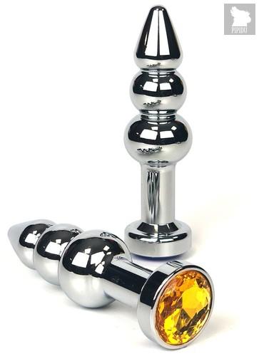 Серебристая анальная пробка-ёлочка с оранжевым кристаллом - 11 см., цвет оранжевый - Vandersex