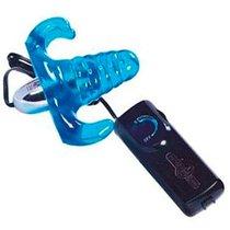 Клиторальный стимулятор на ремешках с вагинальным отростком VAGINA PLUG, цвет голубой - Seven Creations