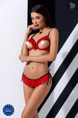 Обольстительный комплект белья Cherry с открытым верхом, цвет красный/черный, 2XL-3XL - Passion