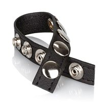 Утяжка на пенис Leather Multi-Snap Ring, цвет черный - California Exotic Novelties