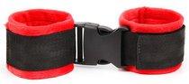 Красно-черные мягкие наручники на липучке, цвет красный/черный - Bioritm