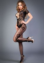 Чёрный комбинезон с красивым цветочным орнаментом, цвет черный - Le Frivole
