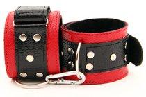 Красно-чёрные кожаные наручники - БДСМ арсенал