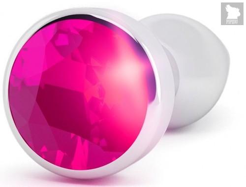 Серебристая анальная пробка с малиновым кристаллом - 10 см., цвет малиновый - Shots Media