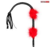 Черная плеть с красными вставками-перьями - 66 см., цвет красный/черный - Bioritm