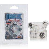 Эрекционное кольцо Magnetic Power Ring с магнитами двойное, цвет прозрачный - California Exotic Novelties