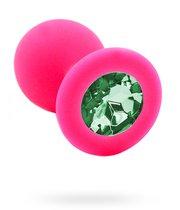 Розовая силиконовая анальная пробка с светло-зеленым кристаллом - 7 см., цвет розовый - Kanikule