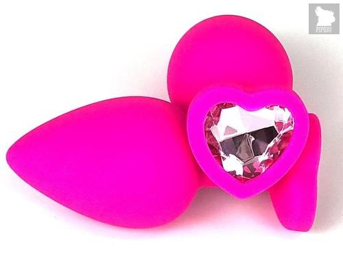 Розовая силиконовая пробка с нежно-розовым кристаллом-сердцем - 8 см., цвет розовый - Vandersex