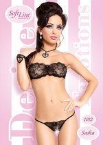 Комплект Sasha: бюстгальтер без бретель + трусики с прорезью, цвет черный, M-L - SoftLine Collection (SLC)