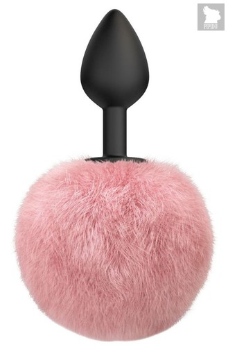 Черная анальная пробка с розовым пушистым хвостиком Fluffy, цвет розовый/черный - Lola Toys