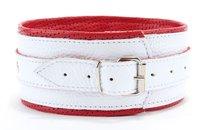 Бело-красный кожаный ошейник, цвет белый - БДСМ арсенал