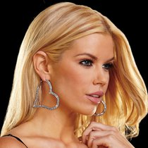 Серьги-сердца Heart Attack Earrings из кристаллов, цвет серебряный - Ann Devine