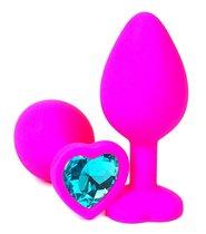 Розовая силиконовая пробка с голубым кристаллом-сердцем - 10,5 см., цвет голубой - Vandersex