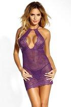 Ажурная сорочка с вырезом-капелькой, цвет фиолетовый, S-M - Dolce Piccante