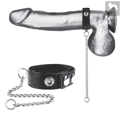 Утяжка на пенис с поводком Snap Cock Ring With 12 Leash, цвет черный - Blue Line