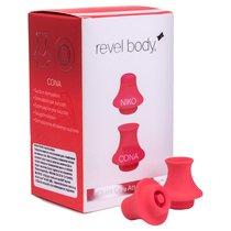 Дополнительные насадки QuietCore для пульсатора Revel Body - 2 шт., цвет красный - Revel Body