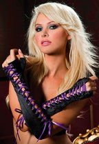 Перчатки Fingerless Lace-Up Gloves с контрастной шнуровкой, цвет фиолетовый/черный, OS - Seven`til Midnight