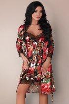 Комплект с цветочным рисунком Mariee: пеньюар, сорочка и трусики, цвет разноцветный, размер L-XL - Livia Corsetti