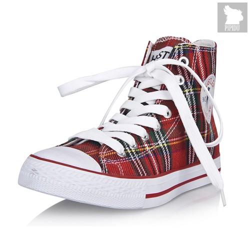 Женские кеды Hustler Classic High Top Women - Plaid, цвет красный, 38 - Hustler Shoes
