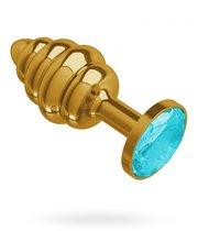 """Анальная пробка МиФ """"Джага Джага"""" Gold Spiral 512-05, с голубым кристаллом - 7 см, цвет голубой/золотой - МиФ"""