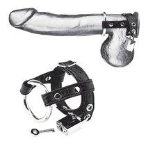 Утяжка на пенис на замочке Duo Cock And Ball Lock, цвет черный - Blue Line