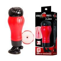 Мастурбатор-анус Crazy Bull FLORA с вибрацией и голосовым сопровождением, цвет красный/черный - Baile