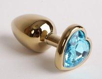 Анальная пробка золото 8х3,5см с сердечком голубой страз 47194-1-MM - Eroticon