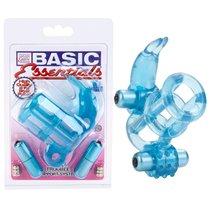 Кольцо эрекционное Basic Essentials - Double Trouble Vibrating Support System, с 2мя вибраторами, цвет голубой - California Exotic Novelties