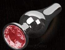 Серая анальная пробка с красным кристаллом - 12 см., цвет красный - Пикантные штучки