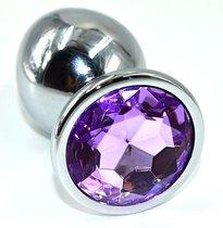 Серебристая анальная пробка из нержавеющей стали с фиолетовым кристаллом - 10 см., цвет фиолетовый - Kanikule