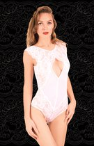 Боди с кружевной лицевой частью и ромбовидным вырезом на груди, цвет белый, размер 46-48 - FlirtON