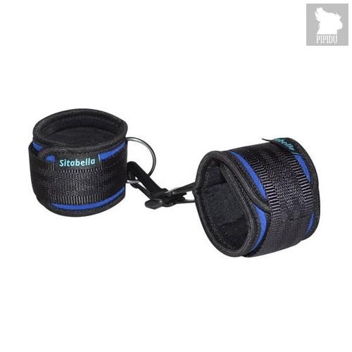 Сине-черные неопреновые наручники с карабинами, цвет синий - Sitabella (СК-Визит)