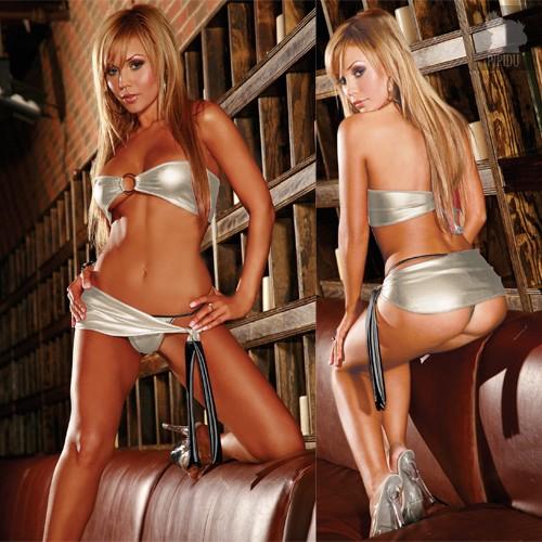 Эротический комплект Dancer, цвет серебряный, S-L - Electric Lingerie