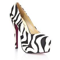 Туфли Black&White, из искусственной шерсти зебры, цвет белый - Hustler Shoes