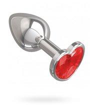 Серебристая анальная пробка с красным кристаллом-сердцем - 7 см, цвет красный/серебряный - МиФ
