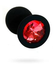 Чёрная силиконовая анальная пробка с красным кристаллом - 7 см., цвет красный - Kanikule