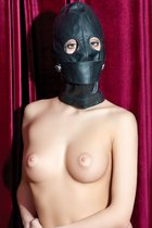 Чёрная кожаная маска с прорезями для глаз, цвет черный - Toyfa