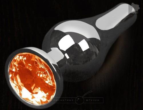 Серая анальная пробка с оранжевым кристаллом - 8,5 см., цвет оранжевый - Пикантные штучки