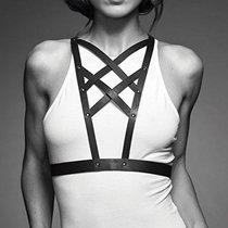 Чёрная упряжь MAZE Cross Cleavage Harness, цвет черный - Bijoux Indiscrets