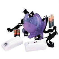 Фиолетовая вибробабочка с фаллосом BUTTERFLY OBSESSION, цвет фиолетовый - Nanma (NMC)